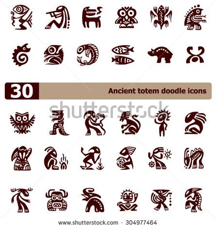 The set of ancient totem icons - stock vector