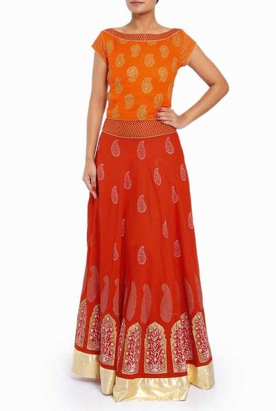 Rahul Singh Red #Lehenga with #Orange #Blouse exclusively on Violet Street, India's Largest online #boutique marketplace  #onlineshopping #ethnic #traditional #cod