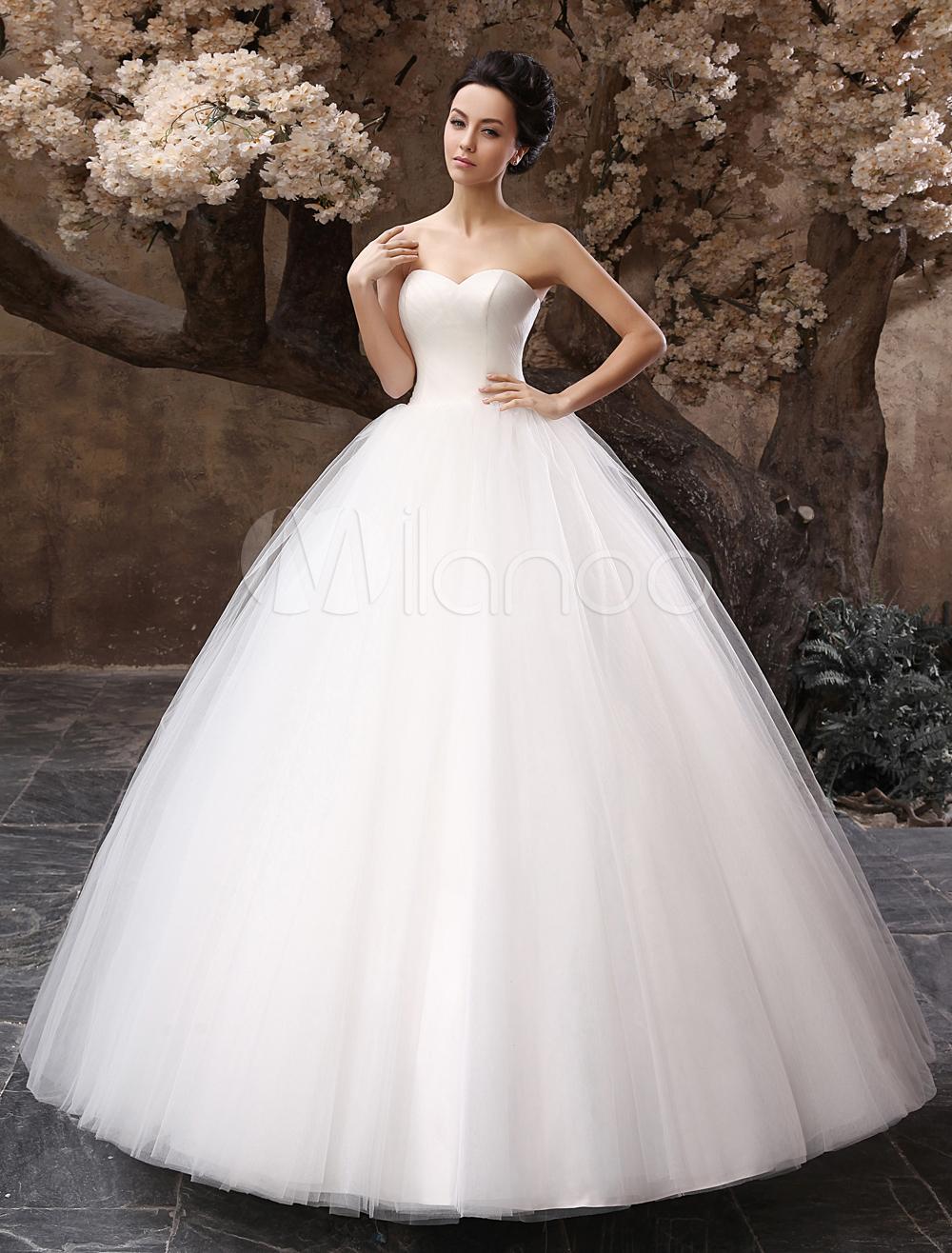 Ball gowns wedding dresses  Robe mariage en tulle blanc plissé longueur plancher  Wedding