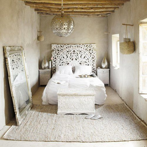 Moroccan Headboard   Moroccan Lighting   Salvaged Wood   Rag Linen Carpet    Etched Wood   White Interiors