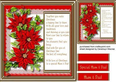 To A Special Mum Dad At Christmas Christmas Card Verses Xmas