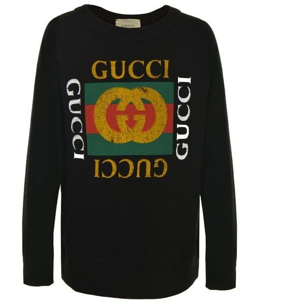 401db8771b9 Gucci Children Girls Fake Logo Sweatshirt ( 200) ❤ liked on Polyvore  featuring tops