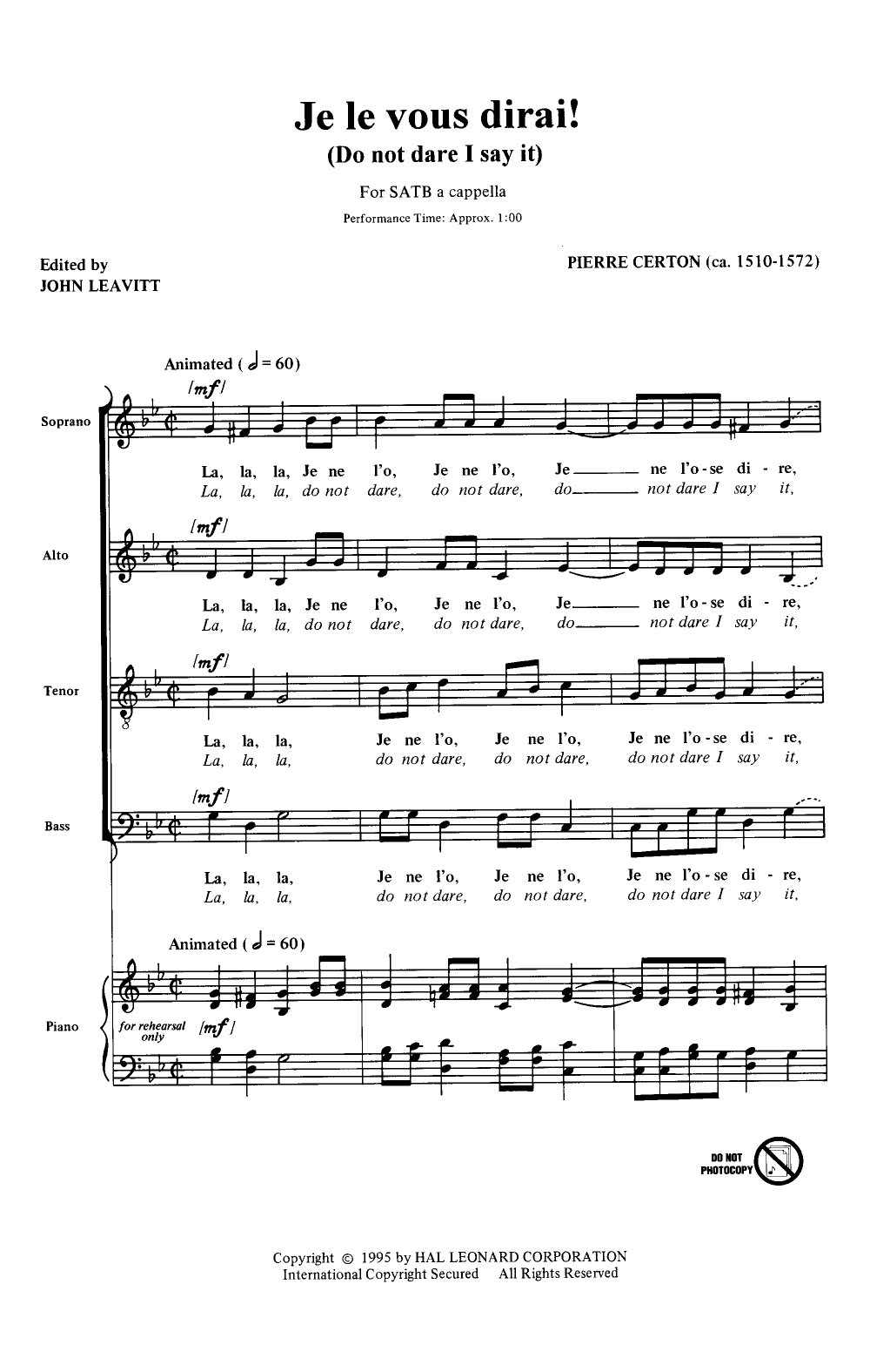 Je Le Vous Dirai Satb By Pierre Certona Jw Pepper Sheet
