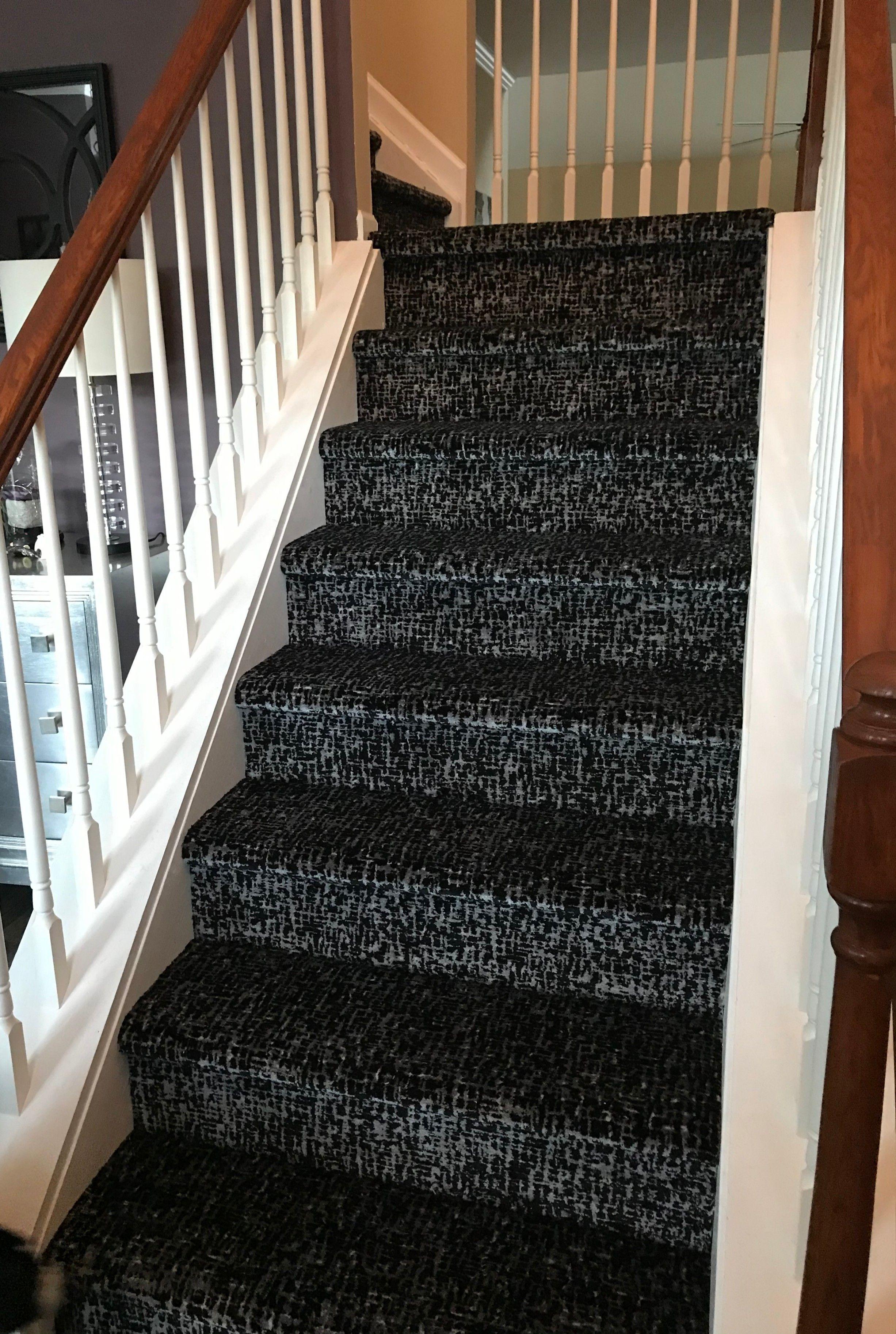 A Beautiful Stairway Transformation From Hardwood To Carpet Featuring Kane S Retro Lafayette Collection Kane Carpet Carpet Animal Print Rug