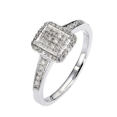 Under £500 9ct White Gold Fifth Carat Diamond Emerald Pave