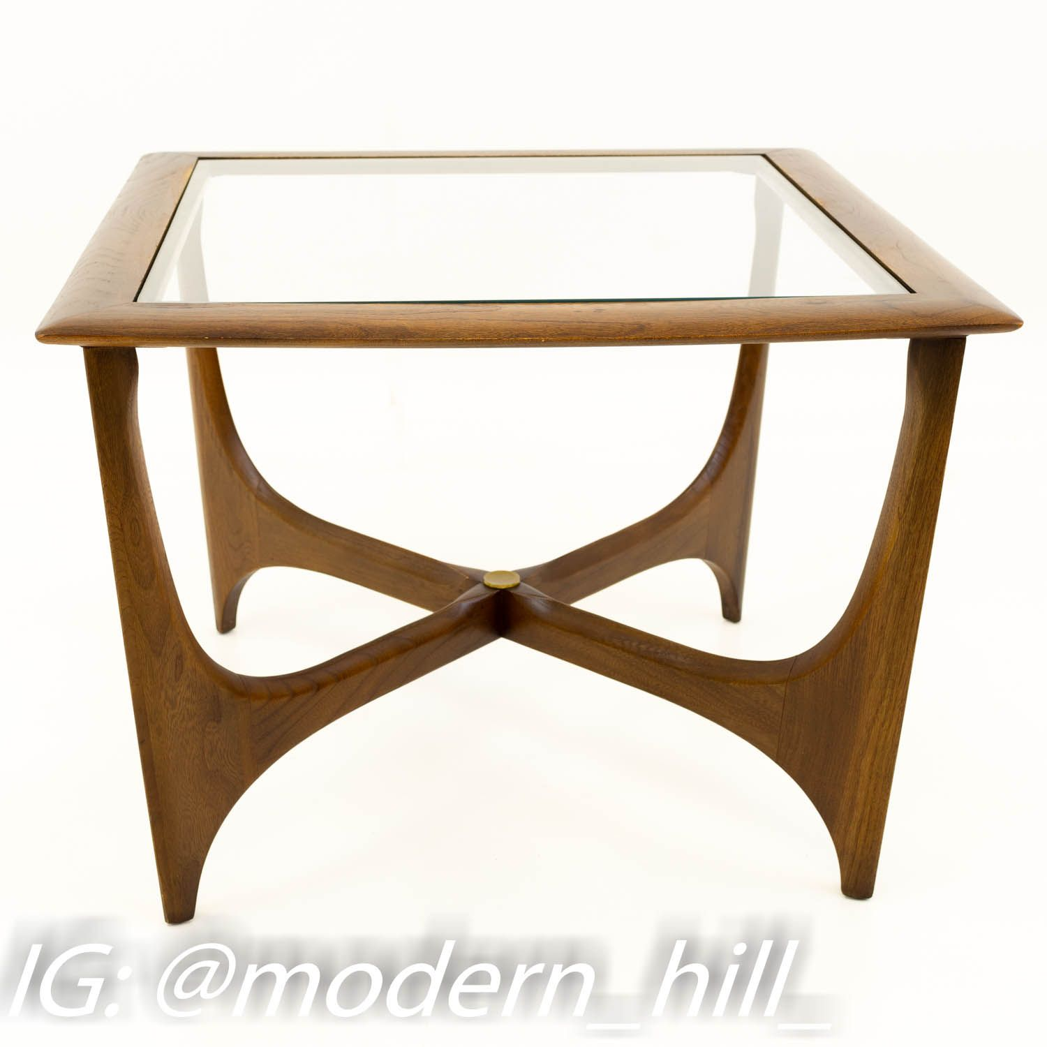 Adrian Pearsall For Lane Mid Century Walnut Glass Sculptural