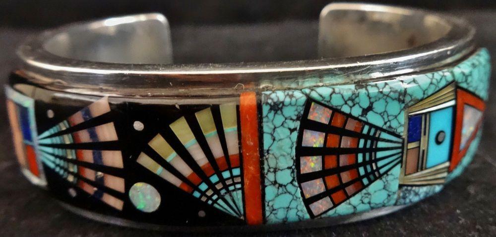 Vintage Zuni Inlay Sterling Silver Cuff Bracelet By Navajo Ervin P Tsosie Nr Jewelry Bracelets Silver Native American Jewellery Inlay Jewelry