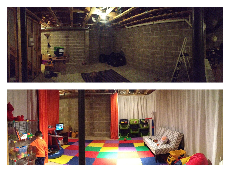 My Basement Playroom Transformation Done Basement Makeover Unfinished Basement Playroom Basement Inspiration