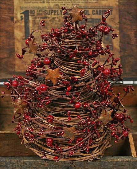 Red Pip Berries and Rusty Tin Stars Grapevine Tree Primitive - primitive christmas decorations