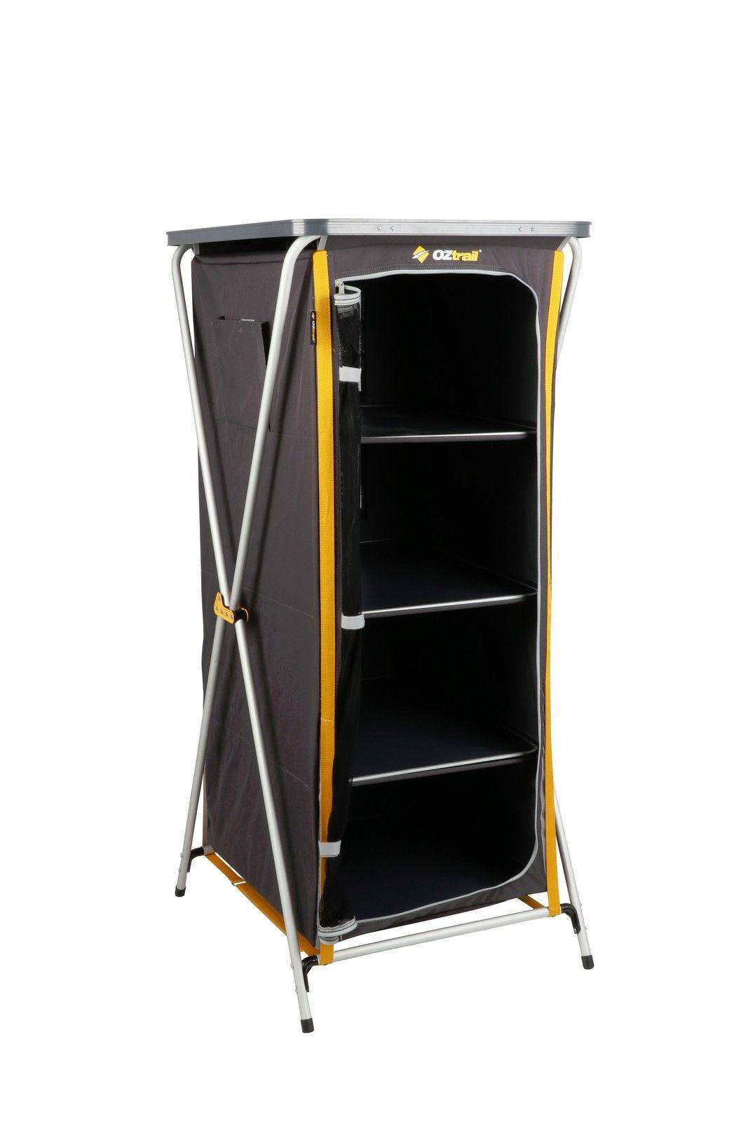Oztrail 4 Shelf Deluxe Camp Cupboard Camping Gear Cupboard Storage Locker Storage