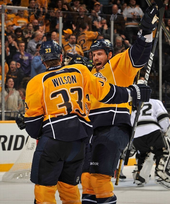 colin wilson and shea weber celebrate wilson's goal! (awesome picture!) 02/7/13