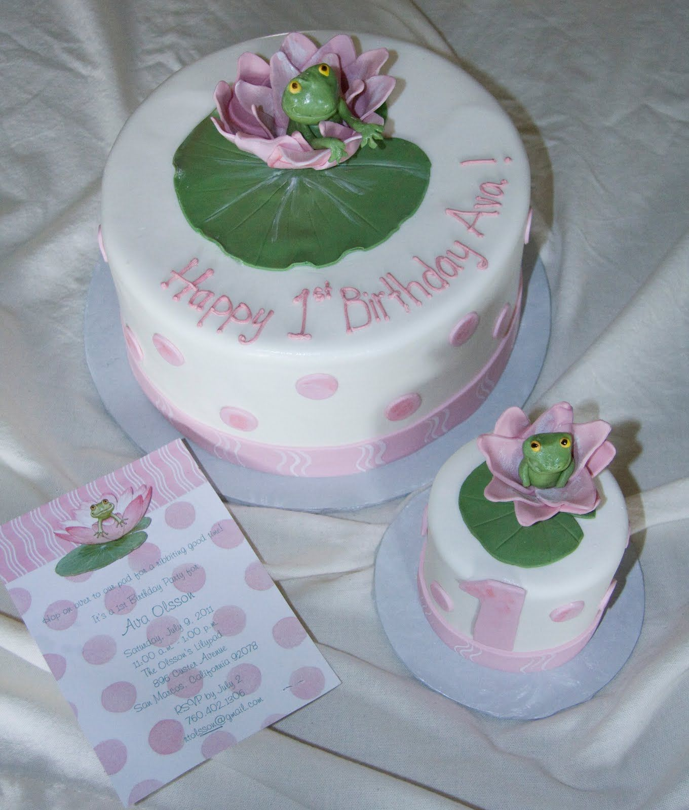 Lily pad cake with a cute smash cake for baby Lillians 1st