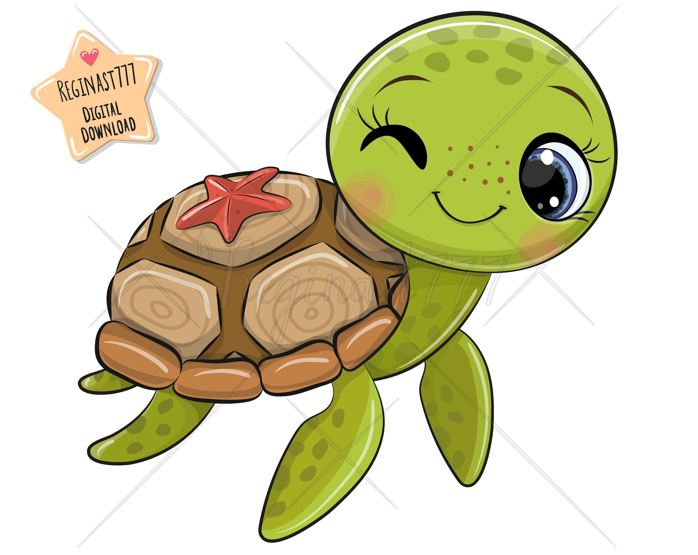 Cute Turtle Print Turtle Clipart Terrapin Water Sea Baby Etsy In 2021 Cute Turtle Drawings Cute Turtles Baby Animal Drawings