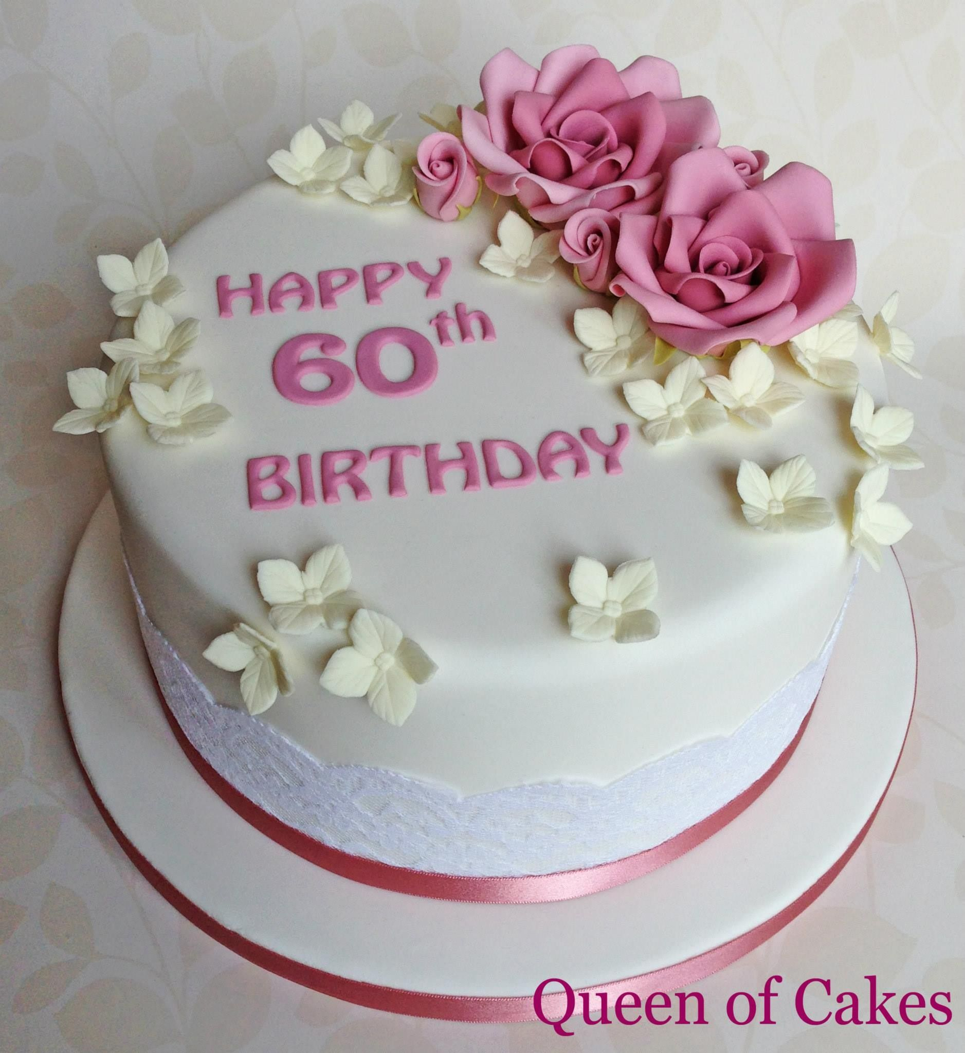 Brilliant Ladies 60Th Birthday Cake With Lace And Sugar Flowers By Queen Funny Birthday Cards Online Kookostrdamsfinfo