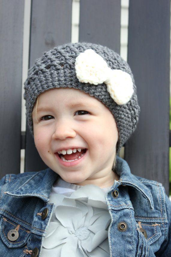 Baby Girl grau Hut mit Sahne Bogen Kleinkind von jobeththompson ...