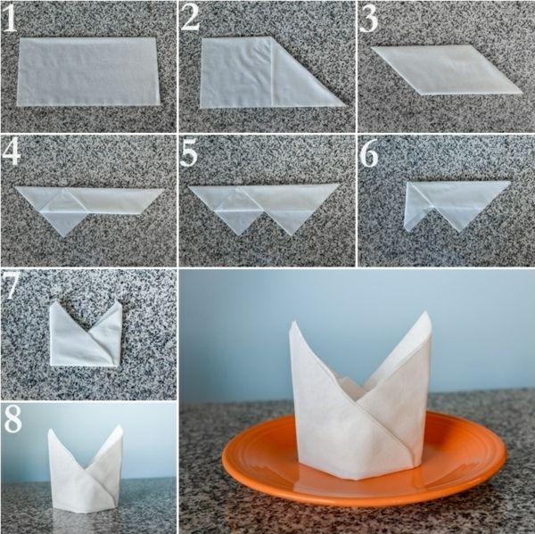 papierservietten falten anleitung festliche tischedeko kreieren deko pinterest. Black Bedroom Furniture Sets. Home Design Ideas