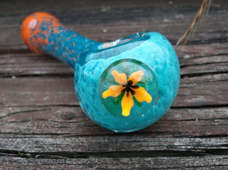 Handmade Heavy Blown Glass Smoking PacMan Sandblasted