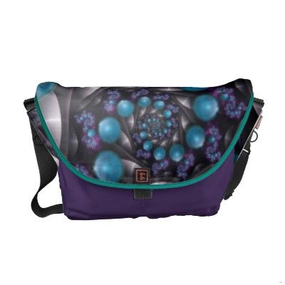 turquoise fractal Gem Bag. designed for school or the office, can hold a laptop, books, etc.
