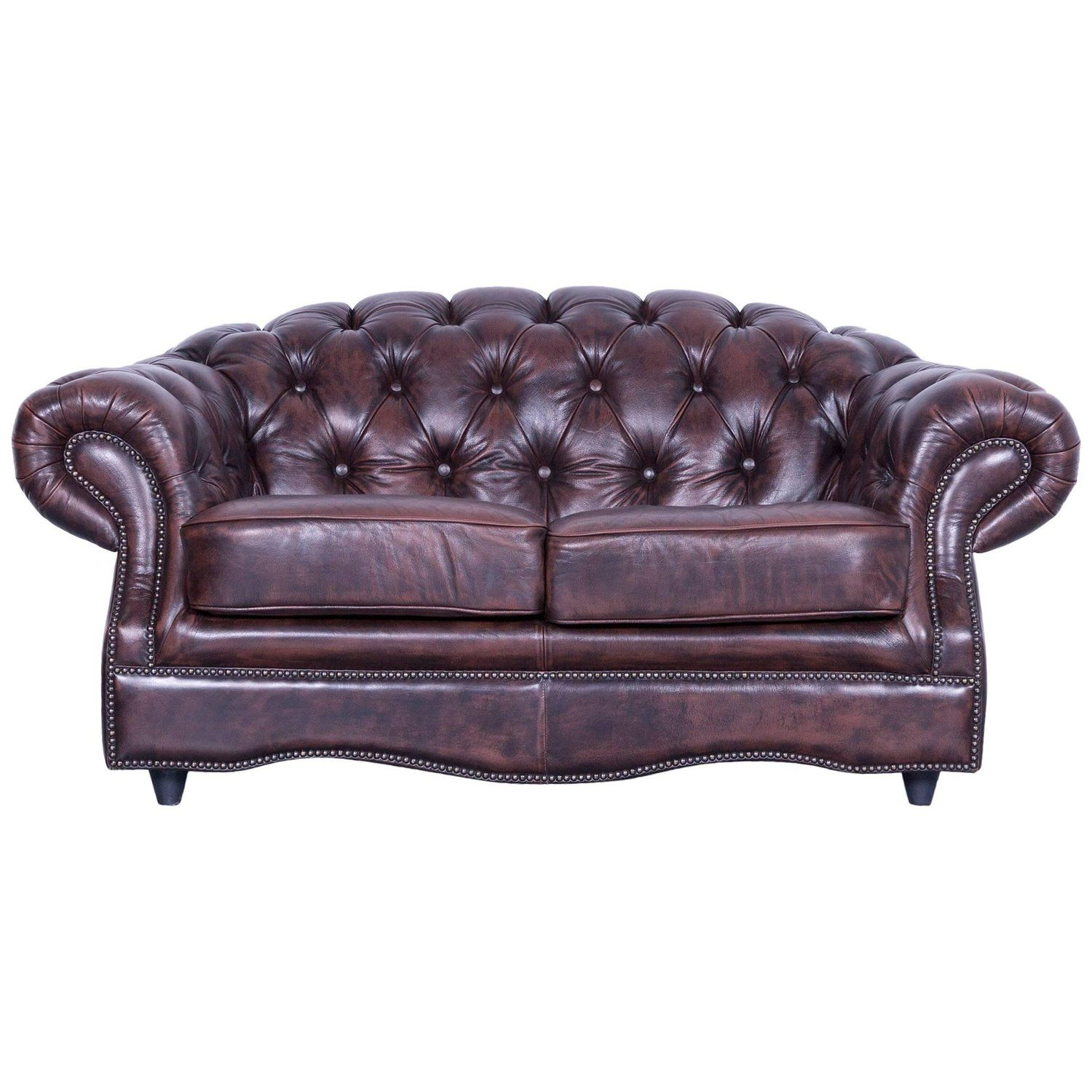 Chesterfield Centurion Leather Sofa Brown Two Seat Couch