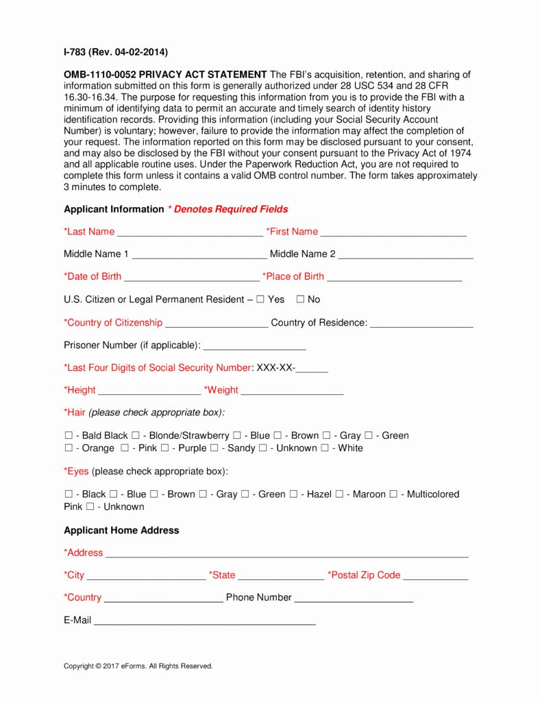 Background Check Form Template 2020
