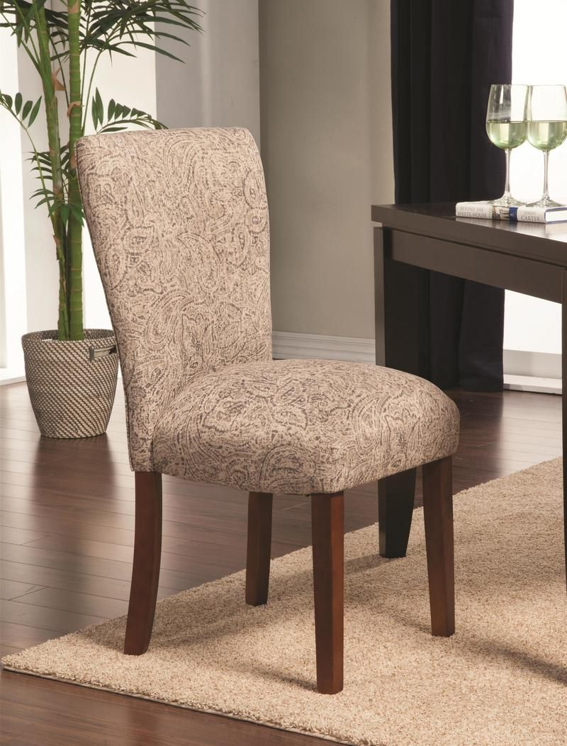 Light Brown and Tan Paisley Parson Chairs by Coaster - Set of 2 //.ashleydeals.com/paisley-dining-chair-coaster-104063.html & Light Brown and Tan Paisley Parson Chairs by Coaster - Set of 2 http ...