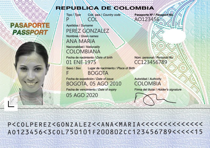 Pasaporte colombiano. Use for a student assessment at novice level ...