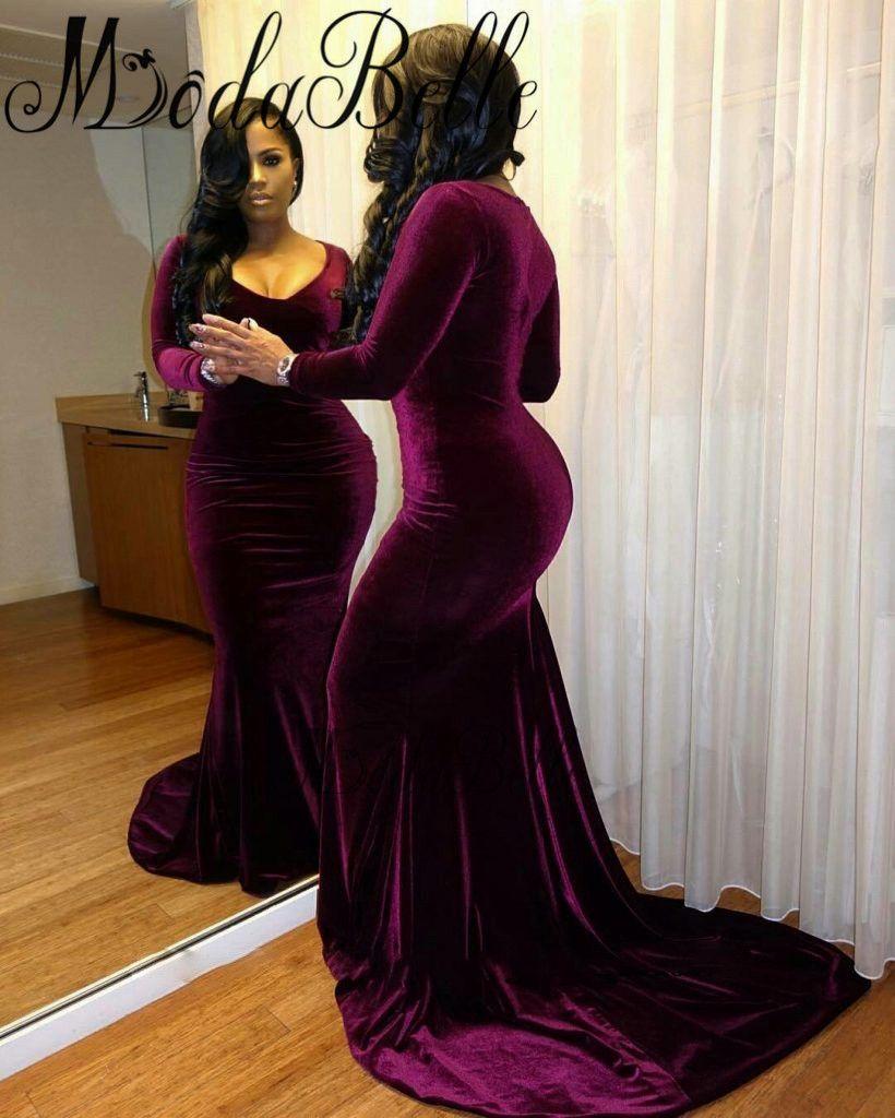 plus size velvet purple prom dresses 2017 mermaid sexy
