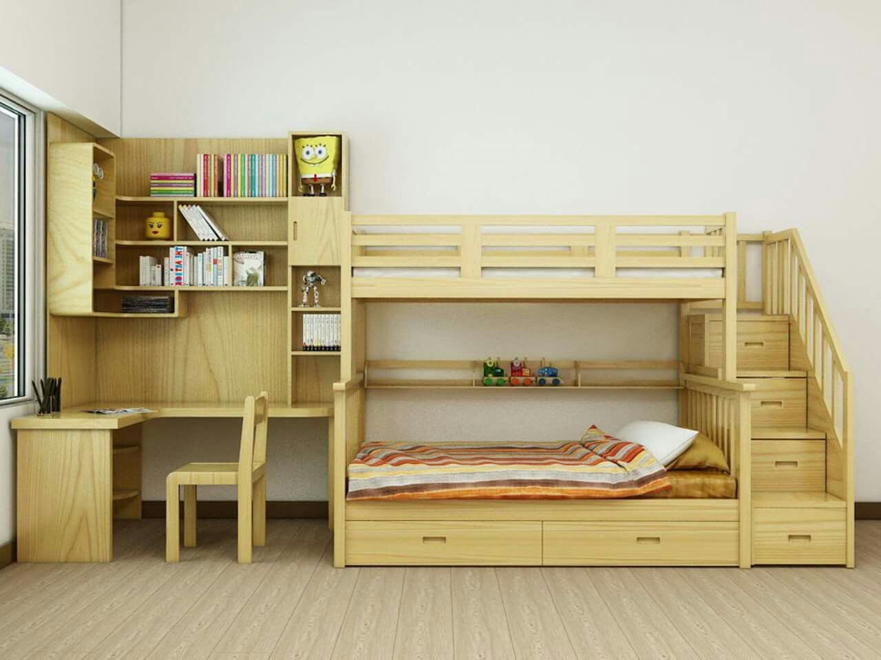 Double loft bed with desk  Pin by Valentin on Детска  Pinterest  Bed Bedroom and Childrens beds