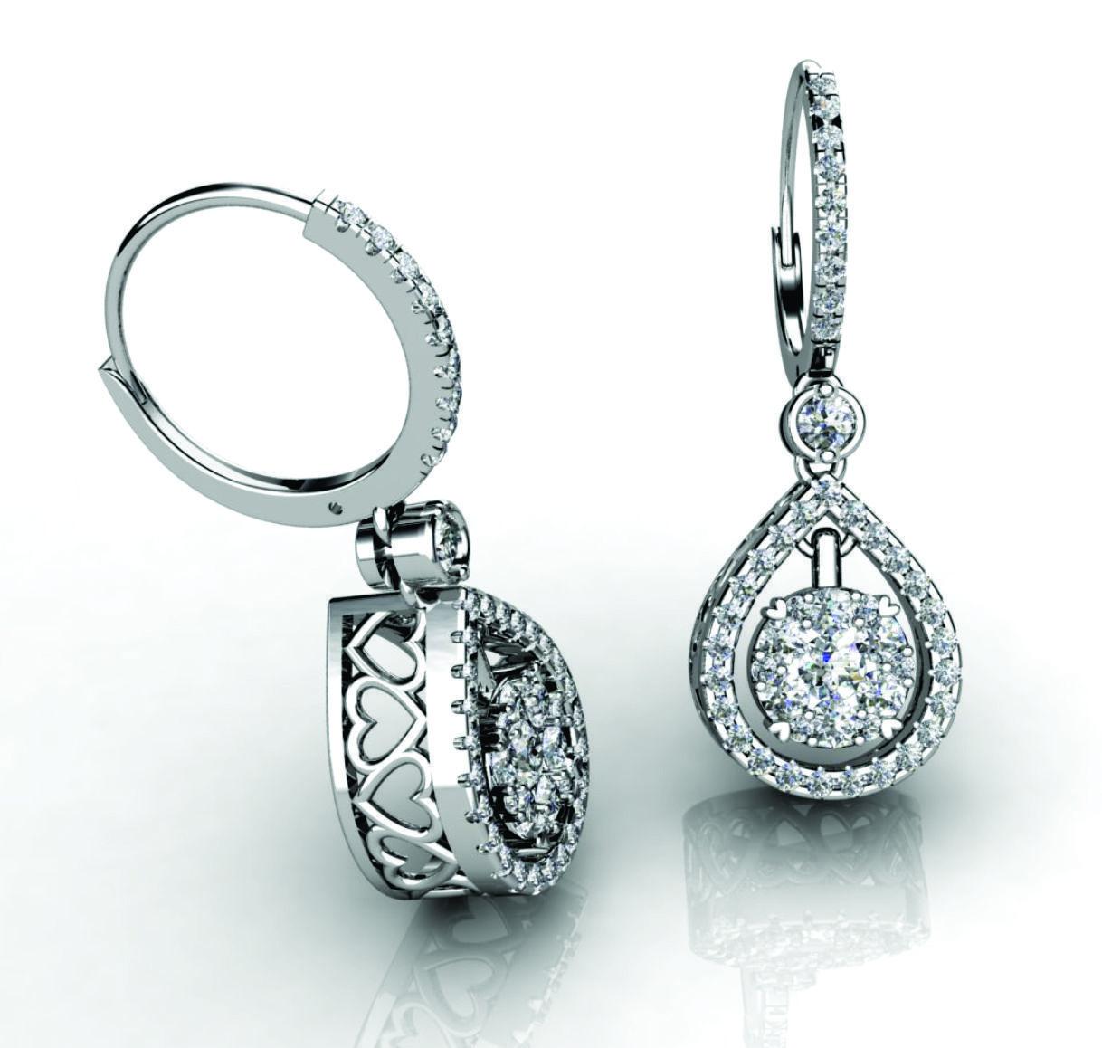 Designing A Custom Diamond Earrings 18karat Diamond Ring Jewelry Whitegold Engagement Bridal Wedding Kimphuoc Diamond White Gold Earrings