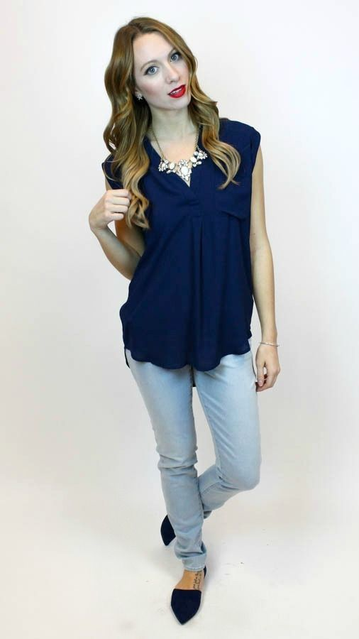 Want this whole look featuring our new Pocketed Top in Navy? Make sure you get the Mya Jeans in Super Light and Easy Does It Flat  http://vampedboutique.com/pocketed-top-in-navy-lumiere/