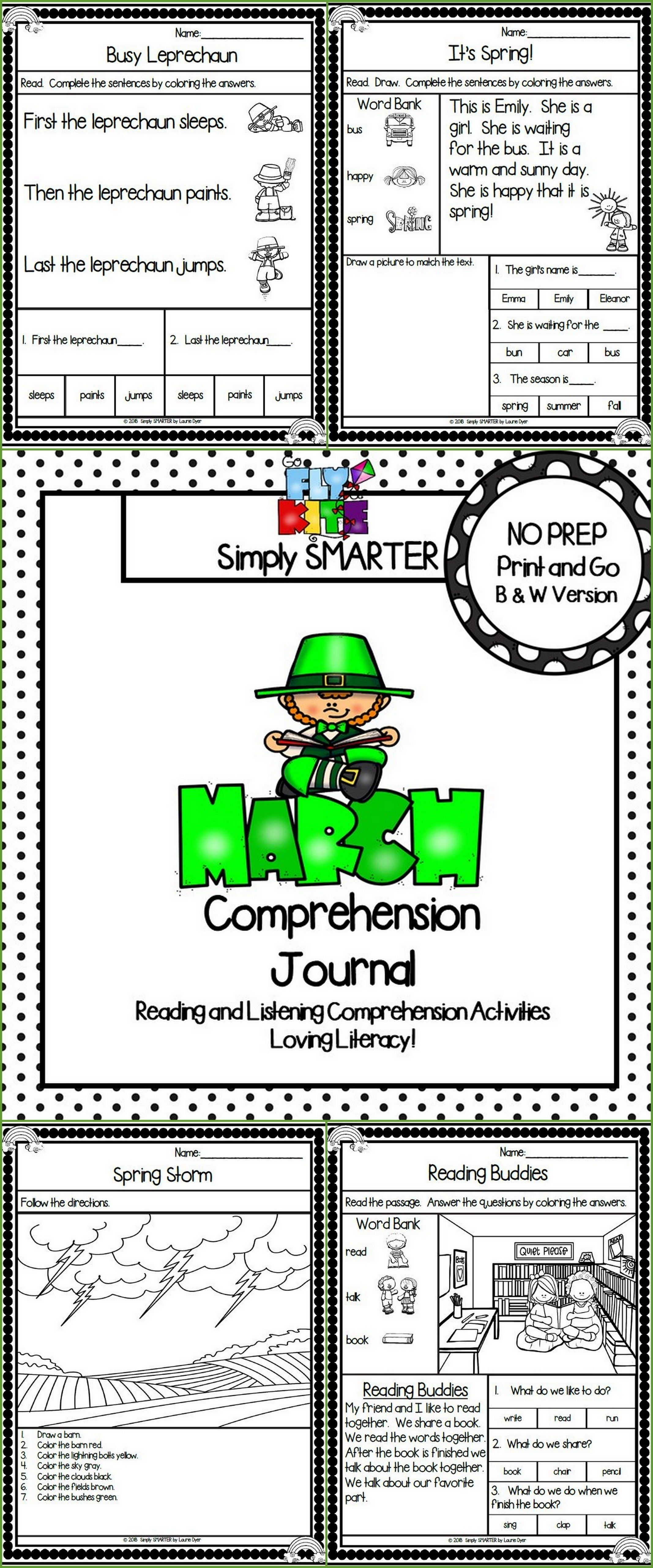 March Comprehension Journal: Reading Comprehension Passages and MORE ...
