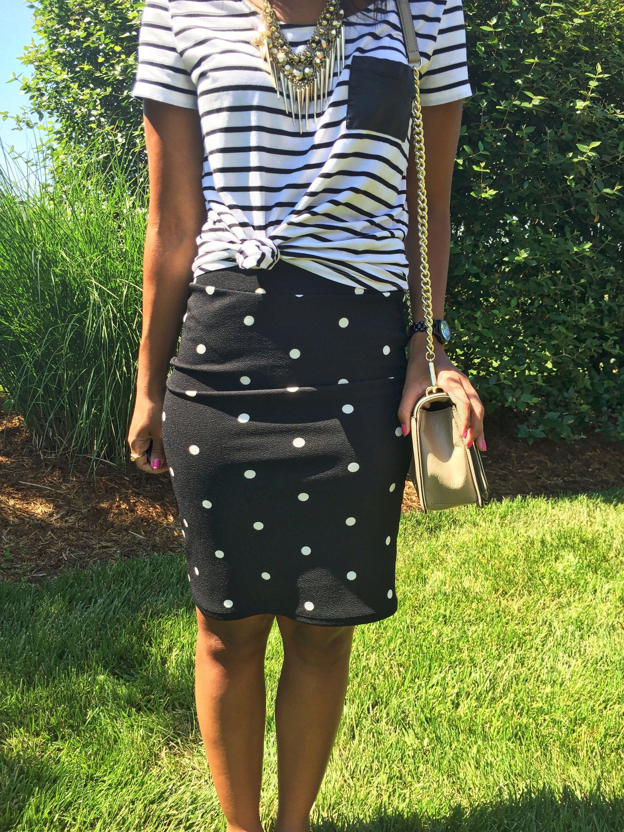 fd4db8c6c61 What Nicole Wore  LuLaRoe Cassie Skirt    polka dot pencil skirt