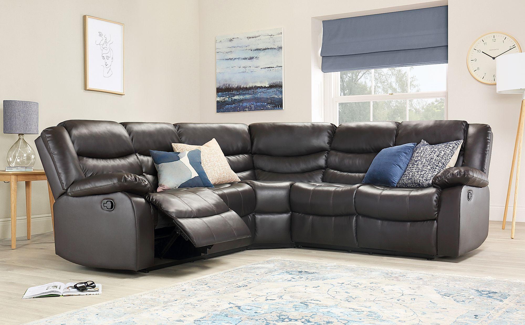 Brown Leather Recliner Corner Sofa