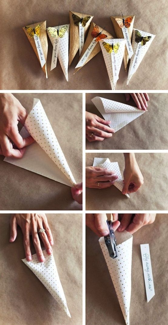 Wrap It!    This idea is perhaps my very favorite.    Fill these gorgeous paper cones with candy, popcorn, bath salts … whatever you can think of and you have a super cute gift.