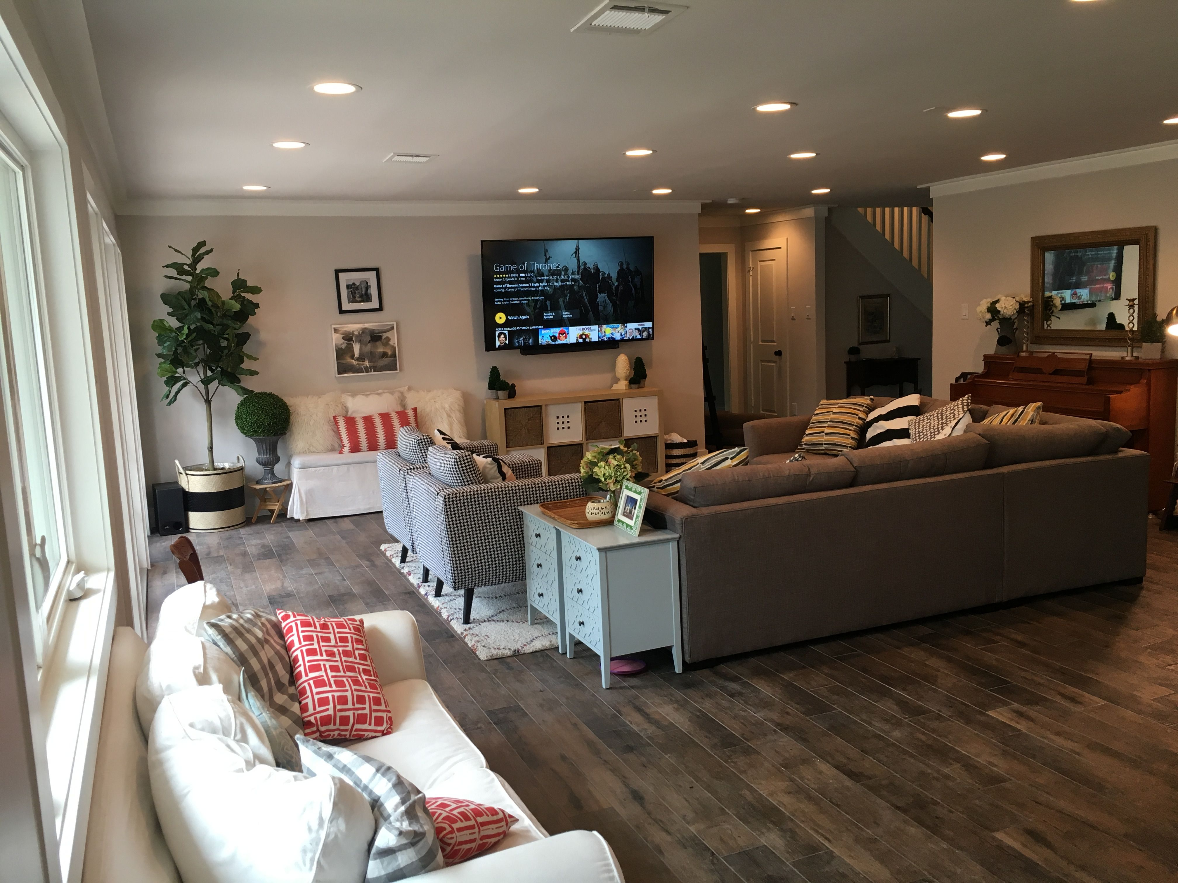 sherwin williams eider white walls. open concept living room