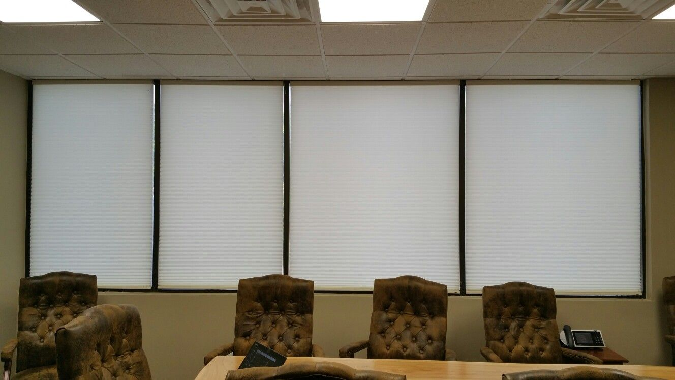 White Honeycomb Blinds For A Conference Room Motorized
