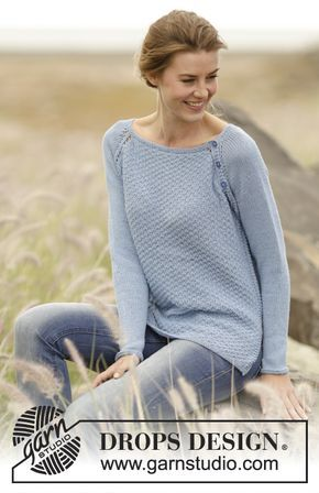 "5d215a162621 Knitted DROPS jumper in double seed st with raglan in ""Belle ..."