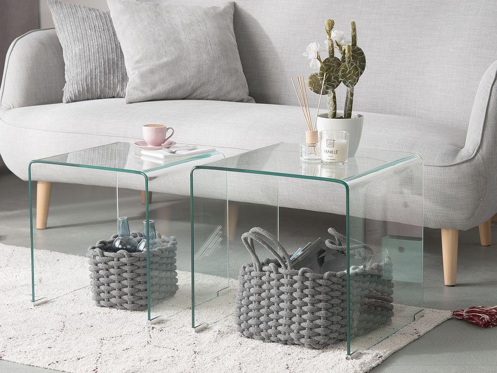 Set Of 2 Glass Side Tables Transparent Kendall Beistelltisch 2er
