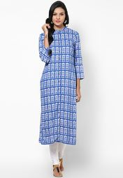 daa8f126fc7 W Blue Printed Kurta Online Shopping Store | Thumbs Up | Kurti ...
