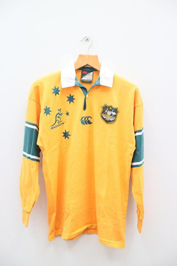 d4b90a27f54 Vintage CANTERBURY Wallabies Rugby Union Australia Yellow Yellow Polo  Shirt, Canterbury, Vintage Clothing,