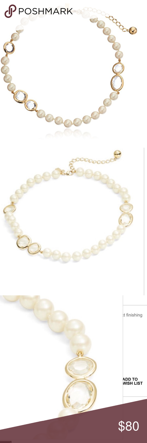 KATE SPADE PEARL CHOKER Beautiful and classic Kate spade Pearl choker with clear stones and gold trim. Classic year after year🎀 kate spade Jewelry Necklaces