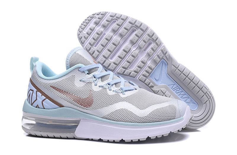 Fashion Women Nike Air Max Fury Running Shoes White Light Blue Gold ... 56da96c10