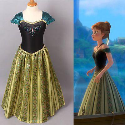 Kids Girls Elsa Frozen Cosplay Costume Princess Anna Fancy Dress Clothes 3-9Yrs