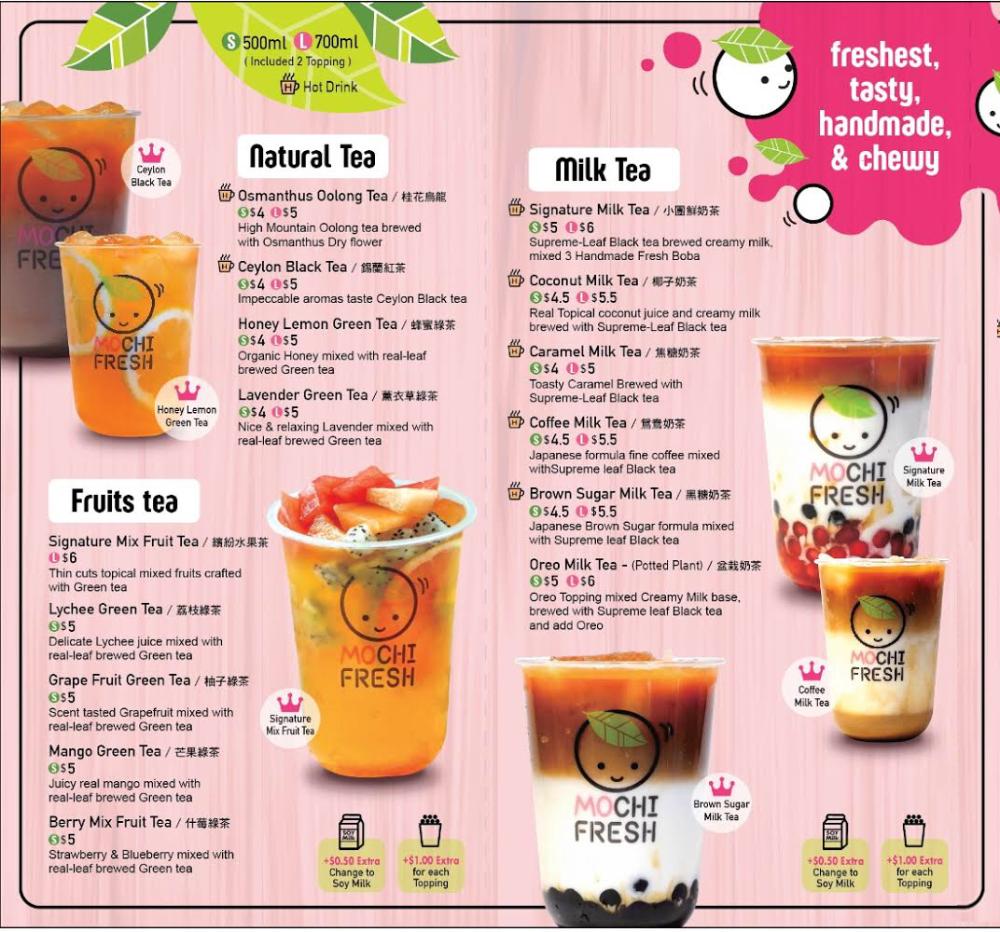 Menu Mochi Fresh Bubble Tea Menu Drink Menu Design Milk Tea Recipes