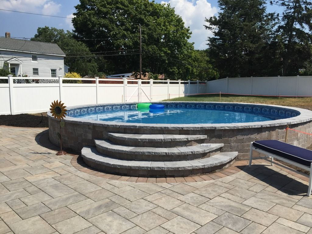 Radiant Pool Backyard Phase 2 Block Wall And Pavers Photos Backyard Pool Landscaping Radiant Pools Inground Pool Landscaping