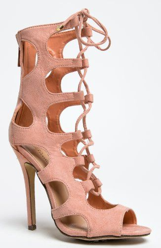 50292107edf Breckelle s ROMA-31 Lace Up Mid Calf Cut Out High Heel Gladiator Sandal