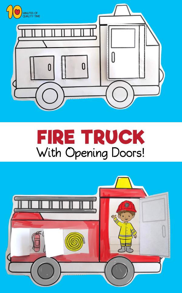 Fire Truck With Opening Doors Printable Fire Safety Preschool Crafts, Fire  Safety Preschool, Fire Truck Activities