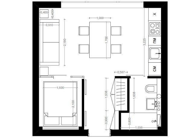 Pequeno apartamento ou kitnet um projeto de 30 m2 for Departamentos 35 metros cuadrados