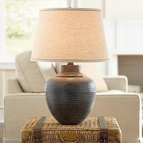 Brighton Hammered Pot Bronze Table Lamp #X4785 | Lamps