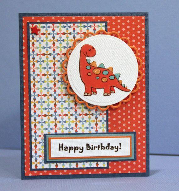 Birthday Card Child Birthday Card Dinosaur Boy Birthday Handmade Card Juvenile Birthday Kids Birthday Cards Cards Handmade Dinosaur Cards